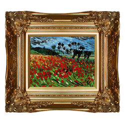 overstockArt.com - Van Gogh - Field of Poppies Oil Painting - Hand painted oil reproduction of one of the most famous Van Gogh paintings, Field of Poppies. The original masterpiece was created in 1889. Today it has been carefully recreated detail-by-detail, color-by-color to near perfection. Why settle for a print when you can add sophistication to your rooms with a beautiful fine gallery reproduction oil painting? Vincent Van Gogh's restless spirit and depressive mental state fired his artistic work with great joy and, sadly, equally great despair. Known as a prolific Post-Impressionist, he produced many paintings that were heavily biographical. This work of art has the same emotions and beauty as the original by Van Gogh. Why not grace your home with this reproduced masterpiece? It is sure to bring many admirers!