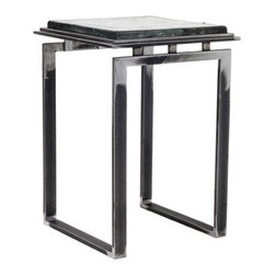 """Charleston Forge - Tribeca Drink Table, Clear Glass, Argento Antico Metal Finish - Unique, sleek and ready to serve in any contemporary environment, the Tribeca Drink Table is made to order from solid steel, cut, forged and welded by hand in Boone, North Carolina.  Choose from a 3/4"""" thick clear glass top, or a 1"""" thick cast glass top (as shown).  You also have 16 different standard and premium metal finishes to choose from.  Burnished Iron is a signature finish.  This translucent finish conveys the character in the raw steel, the strike of each hammer blow and the sense of hand of our artisan blacksmiths.  When choosing finish options, bear in mind that Burnished Iron, Antique Pewter, Glazed Hudson and Crystal all celebrate the rugged beauty of the metal and variation in color and texture should be expected.  Burnished Iron is highlighted natural steel with a clear, matte top coat.  Crystal is an ultra clear, baked on coating - the finish for those who desire the raw, organic look of unpainted, handmade metal furniture.  Standard finishes are all powder-coated.  Premium finishes are powder-coated and hand-painted.  Cast glass tops are created by hand-pouring molten glass into a mold and then allowing it to cool slowly.  Each top is a one-of-a-kind piece of art featuring a unique mixture of swirls, ripples and bubbles, both on the surface as well as inside the glass itself.  No two tops are alike and may vary from each other significantly - often featuring areas of varying opacity.  Some color variation in photos of our products, including furniture finishes, leathers and fabrics, is possible due to lighting and differing resolution quality on computer devices."""