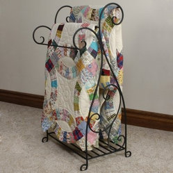 J & J Wire Scrolled Wrought Iron Quilt Rack