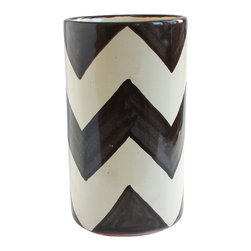 Black ZigZag Wine Bottle Holder - Freshen up your table — and keep your wine chilled to perfection. This boldly patterned, hand-crafted piece, imported from Mexico, adds fiesta flair your favorite setting, whether you use it for a bottle, utensils or a bouquet of flowers.