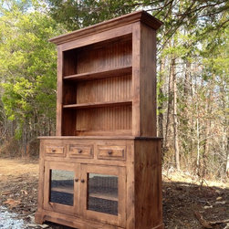 Custom Farmhouse Furniture - Our Waldo buffet and hutch measures, 52 x 20 x 80 and is finished in Chestnut stain with Spring distressing.