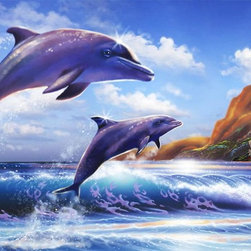 Murals Your Way - Blue Sky Beach Wall Art - Two dolphins jump in tandem in this wall mural, arching high above the blue waves