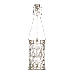 Fine Art Lamps - Encased Clear Crystal Gems Lantern, 711640-3ST - A cylindrical cage of glittery faceted gems is the focal point of this fascinating fixture. Choose from clear or complementing crystals to go with the warm bronze patina of the frame.