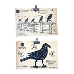 """Used Vintage 1950s Crow Paper Shooting Targets - A Pair - Hit me with your best shot! A pair of Sears brand vintage paper crow shooting targets with great graphics. One features a single crow, and the coordinating target features a flock perched on a fence. Both measure 6"""" x 9"""" inches. Picture these as part of your Halloween decor, or as graphics within your gallery wall.    There are small tears and wrinkles along the edges and corners, but this is old paper and it only serves to add to their vintage charm. You will not receive these exact photographed target (as the Seller has a few in stock) but you will receive the same graphics that are pictured."""