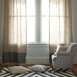 Serena & Lily - Burlap Color Block Window Panel  Pewter - A wide, color rich band anchors a simple burlap panel. So simple, so effortlessly chic. The burlap fabric is pre washed for a relaxed drape.