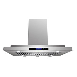 "AKDY - AKDY AK-ZGL9011 Euro Stainless Steel Island Mount Range Hood, 36"" - A 3-speed exhaust fan with a 870 CFM vertical exhaust capacity makes it easy for this AKDY 9011 36"" range hood to remove cooking odors from your kitchen. The aluminum filter captures grease from the air and is dishwasher safe to simplify cleanup."