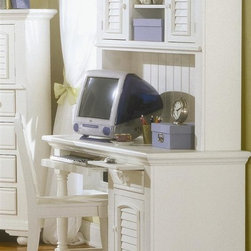 American Woodcrafters - Cottage Traditions Computer Desk, Hutch & Chair in White Finish - Abundant workspace options and pleasant aesthetics give this 3 piece Cottage Traditions collection a decided advantage. Roomy hutch provides essential overhead storage & display, while desk & chair keep you productive and organized. Solid wood set has eggshell white finish. Cottage Traditions Collection. Includes desk, hutch and 1 chair. Computer desk with 1 door, 1 drawer and 1 adjustable shelf. 1 Pull-out keyboard tray. Solid wood hardware of knobs in matching finish. Drawer features conventional dovetailing. Veneer drawer bottoms. Center guided, metal-on-metal, plastic-on-plastic with positive action drawer stops to prevent drawers from being accidentally pulled from cases. Drawer is 14.5 in. front-to-back for ample storage. Corner blocks and cleats are glued and screwed in place. Hutch with 2 doors, 2 stationary shelves and 1 adjustable shelf. Grommets for electrical wiring. Eggshell White with fly-specking finish. Solid Pine, Pine veneer and MDF construction. 1-Year manufacturer's warranty. Desk: 22 in D x 48 in. W x 30 in. H (122.3 lbs.). Hutch: 10.25 in. D x 49.38 in. W x 40.13 in. H (74.3 lbs.). Chair: 15 in. L x 17 in. W x 37 in. H (17.2 lbs.)