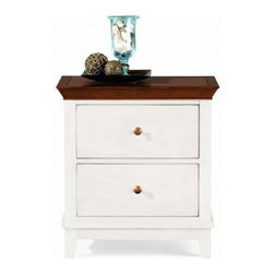 """American Drew 181-420WC Drawer Night Stand - White w/ Cherry Top Sterling Pointe - Drawer Night Stand - White w/ Cherry Top - American Drew Sterling Pointe Collection 181-420WCFeatures:2 DrawersThis Price Includes:Drawer Night Stand - White w/ Cherry TopItem:Weight:Dimensions:Drawer Night Stand - White w/ Cherry Top66 lbs26"""" W X 17"""" D X 28"""" HManufacturer's Materials:Maple and Hardwood SolidsMaple & Poplar Veneers & Simulated Wood Components"""