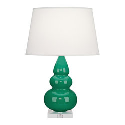 "Robert Abbey - Contemporary Robert Abbey Emerald Triple Gourd Ceramic Table Lamp - This beautiful tapered triple gourd base ceramic table lamp will brighten up your home with the elegance of contemporary style. Finished in a rich emerald glaze with a square clear Lucite stand below that plays off the soft pearl dupioni fabric shade on top. A sophisticated and tasteful design from Robert Abbey. Contemporary triple gourd table lamp by Robert Abbey. Ceramic construction. Emerald green finish. Lucite base. Pearl dupioni shade. Made in USA. Takes one 150 watt 3-way bulb (not included). 24"" high. Shade is 12 3/4"" across the top 16"" across the bottom and 10"" on the slant. Base is 5 1/2"" square and 1"" high.  Contemporary triple gourd table lamp by Robert Abbey.  Ceramic construction.  Emerald green finish.  Lucite base.  Pearl dupioni shade.  Made in USA.  Takes one 150 watt 3-way bulb (not included).  24"" high.  Shade is 12 3/4"" across the top 16"" across the bottom and 10"" on the slant.  Base is 5 1/2"" square and 1"" high."
