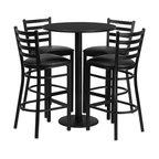 Flash Furniture - Flash Furniture Restaurant Furniture Table and Chairs X-GG-1201BRSR - 30'' Round Black Laminate Table Set with 4 Ladder Back Metal Bar Stools - Black Vinyl Seat [RSRB1021-GG]