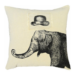 Kathy Kuo Home - Hat Elephant Hand Printed Linen Down Throw Pillow - Add a playful punch to your sofa or bed. This elegant elephant is hand-printed on linen and features a floating bowler patch that ups its charming style. It's a look you'll love and your friends won't soon forget.