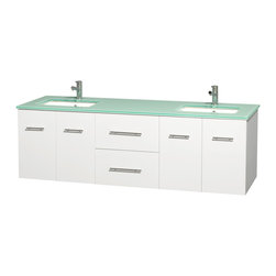 Wyndham Collection - Centra Bathroom Vanity in White,Green Glass Counter,UM Sinks,No Mirror - Simplicity and elegance combine in the perfect lines of the Centra vanity by the Wyndham Collection. If cutting-edge contemporary design is your style then the Centra vanity is for you - modern, chic and built to last a lifetime. Available with green glass, pure white man-made stone, ivory marble or white carrera marble counters, with stunning vessel or undermount sink(s) and matching mirror(s). Featuring soft close door hinges, drawer glides, and meticulously finished with brushed chrome hardware. The attention to detail on this beautiful vanity is second to none.