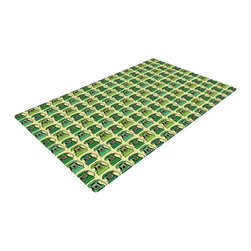 """Kess InHouse - Holly Helgeson """"Vintage Telephone"""" Green Pattern Woven Area Rug (22.5"""" x 37"""") - Splash your floors with artwork! That's right, I said your floors. With these woven polyester jacquard area rugs adding a splash or pop of artwork is a breeze. Use it in just about any room, even the bathroom! These woven area rugs will leave all of your guests envious as they walk through your artistic home!"""