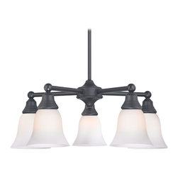 Design Classics Lighting - Chandelier with White Glass in Matte Black Finish - 597-07 GL9222-WH - Transitional matte black 5-light chandelier. Takes (5) 100-watt incandescent A19 bulb(s). Bulb(s) sold separately. UL listed. Dry location rated.