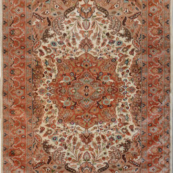 """ALRUG - Handmade Beige Persian Silk Isfahan Rug 4' 1"""" x 6' (ft) - This Pakistani Isfahan design rug is hand-knotted with Silk on Cotton."""