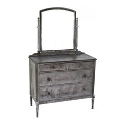 """Simmon's Vintage Metal Furniture - late 1930's american industrial hotel or hospital room brushed metal """"low boy"""" stationary dresser with intact oversized swivel mirror."""