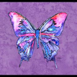 Caroline's Treasures - Butterfly on Purple Indoor or Outdoor Mat 24 x 36 Doormat - Indoor / Outdoor Floor Mat 24 inch by 36 inch Action Back Felt Floor Mat / Carpet / Rug that is Made and Printed in the USA. A Black binding tape is sewn around the mat for durability and to nicely frame the artwork. The mat has been permanently dyed for moderate traffic and can be placed inside or out (only under a covered space). Durable and fade resistant. The back of the mat is rubber backed to keep the mat from slipping on a smooth floor. Wash with soapwater.