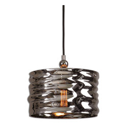 Aragon 1-Light Nickel Glass Pendant