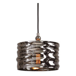 Uttermost - Aragon 1-Light Nickel Glass Pendant - This gorgeous pendant is absolutely illuminating. It's made of blown glass with a nickel-plated finish. Hang it above your table or place a few over your kitchen island for a sleek, coordinated look.