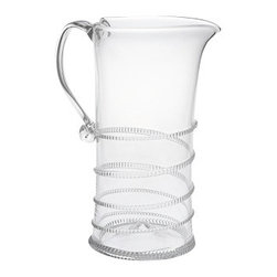 "Juliska - Juliska Amalia Large Pitcher Clear - Juliska Amalia Large Pitcher Clear. This signature swirl ascends the clean silhouette of this pitcher, making it wonderfully versatile for springtime brunches, alfresco lunches or sunset cocktails. Dimensions: 9.5"" H Capacity: 1.75 Qt"