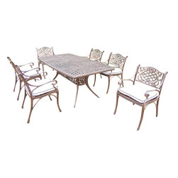 Oakland Living - 7-Pc Outdoor Dining Table Set - Includes one dining table and six dining chairs with cushions. Boat shaped table. Metal hardware. Fade, chip and crack resistant. Umbrella hole. Traditional lattice pattern and scroll work. Warranty: One year limited. Made from rust free cast aluminum. Antique bronze hardened powder coat finish. Minimal assembly required. Table: 70 in. L x 38 in. W x 29 in. H (75 lbs.). Chair: 21.5 in. W x 23 in. D x 34 in. H (27 lbs.)This 7 pc Table dining set is the prefect piece for any outdoor dinner setting. Just the right size for any backyard or patio. The Oakland Mississippi Collection combines southern style and modern designs giving you a rich addition to any outdoor setting. Each piece is hand cast and finished for the highest quality possible.