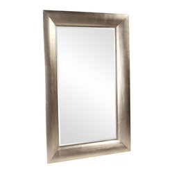 Howard Elliott - Barron Rectangular Bright Silver Leaf Mirror - This oversized mirror features clean lines and is finished in a warm bright silver leaf.