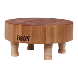 John Boos - John Boos Small, Round Maple Chopping Block on Wooden Legs - John Boos 12-in. diameter, 3-in. thick maple cutting board on four, 3-in. round legs. End-grain style so more resistant to nicks and gouges and easy on knives.