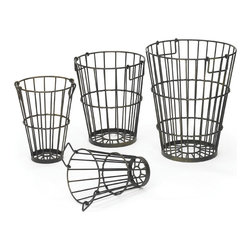 Go Home - Go Home Set of Four Croppers Baskets - Make your space clutter-free with the Set of Four Cropper Baskets. It is skillfully crafted from durable steel material by utilizing the cutting edge technologies to cater multiple needs of urban lifestyle. This set features a natural finish that exhales a distinctive charm and beauty.  Even the craftsman has provided every bucket with smooth and stylish metal handles on either sides.