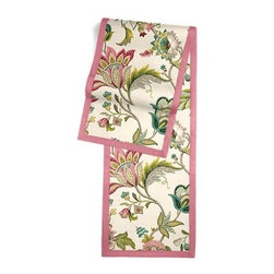 Pink & Blue Jacobean Floral Custom Table Runner - Set a table for a king! or just your family and friends!! with our gorgeous Tailored Table Runner. Solid edging adds a touch of refinement, perfectly setting off the center fabric. We love it in this sophisticated Jacobean floral in bright feminine shades of pink and blue. Perfect for the new traditionalist.