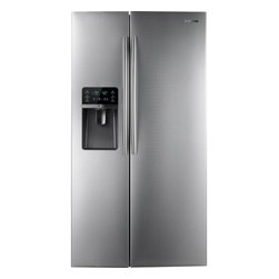 """Samsung - RSG307AARS 36"""" 29.6 Cu. Ft. Side-by-Side Refrigerator With Thru-the-Door Ice and - This refrigerator features an 8 LCD touch screen for easy operation and a Twin Cooling Plus system for thorough temperature management LED tower lighting efficiently and stylishly illuminates the interior space"""