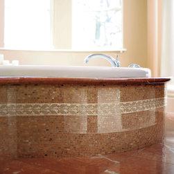 Bathrooms - Crossville Modern Mythology S005 12 x 12 Single Stone Mosaic, S005 6 x 12 Olive Border