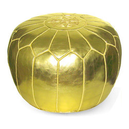 Handmade - METALLIC GOLD OTTOMAN POUF - Add glitz and glamour to your living room with this functional ottoman and furnishing accent.  We are sure it will be the most popular seat or footrest in the house!