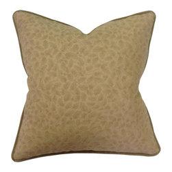 Bennison Leaf Print Pillow - Oak leaf print on tea stained linen, gold metallic back, celadon velvet welt.