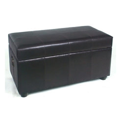 International Caravan - Bench Trunk w Lift Lid and Chocolate Faux Lea - In Dark Chocolate. Made of faux leather. Opens up to an enormous trunk for bedroom or house storage. 38 in. L x 20 in. W x 19 in. H