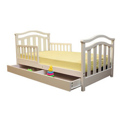 "Dream On Me - Elora Toddler Bed with Storage Drawer - The Dream On Me, ""Elora"" Toddler Bed is designed low to the floor so that your toddler can safely get in and out of bed. It is the perfect transition for toddlers who have outgrown their cribs but are still too small for an adult bed. Include safety guard rails for piece of mind security and wooden mattress support rails that provide durability and support without the use of a box spring. Recommended for children 18 months to 5 years old with a 50 lb weight limit. Accommodates a standard size Dream On Me mattress, sold separately. Comes complete with all necessary tools for easy assembly. Features: -Material: Solid wood. -Elegant design. -Roomy storage drawer. -Non-toxic."