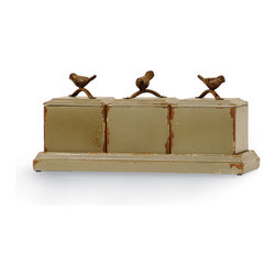 Palecek - Antiqued Box with Bird, Set of 3 - Three separate boxes, with lids, on a tray. Boxes and tray feature an antiqued blue grey finish and a non-woven felt lining. Topped with cast iron bird handles.