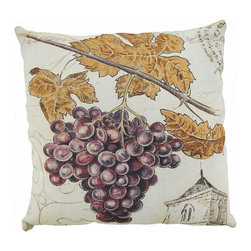 `Florence Grapes` Grapevine Indoor/Outdoor Throw Pillow 20 In. - This 20 inch throw pillow adds a wonderful accent inside your home, or outdoors on your porch or patio. The Climaweave fabric is durable, fade and moisture resistant, and is sure to look and feel great for years, wherever you display it. The pillow features a large bunch of purple grapes, with autumn grape leaves in the background It is made of 100% polyester, from the cover to the soft stuffing, and is proudly made in the USA.