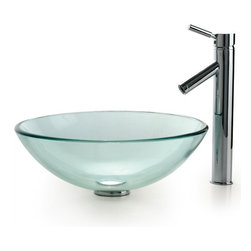 Kraus - Clear Glass Vessel Sink and Sheven Faucet (Satin Nickel) - Finish: Satin Nickel