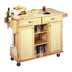 HomeStyles - Napa Kitchen Cart - Two easy open utility drawers on metal glides. Double door storage cabinet with adjustable shelf. Center storage area with two shelves. Spice rack. Towel bar. Paper towel holder. Heavy duty locking rubber casters provides even greater utility. Wood top. Brushed steel hardware. Made from Asian hardwood. Natural Finish. Made in Thailand. 49.75 in. L x 24 in. W x 35.25 in. H. Assembly InstructionsThe Napa Kitchen Center with its clean style and natural finish provides culinary function to any kitchen. Clear coat finish helping to guard against marring from normal use.
