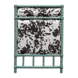 Uttermost - Uttermost - Chahna Twin Headboard In Aqua Blue - 23704 - Rich cushioning under plush, dark chocolate and milky white velvet, with an aqua blue finish on solid, turned hardwood. French cleat wall attachment.