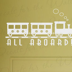 Decals for the Wall - Wall Decal Sticker Quote Vinyl Lettering Graphic All Aboard Train Nursery B47 - This decal says ''All Aboard!''