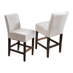 Great Deal Furniture - Bronson Ivory Leather Counter Stool (set of 2) - Add comfort to your home with our Bronson Leather Counter Stool. With its soft ivory bonded leather and well padded seat, this furniture makes an ideal seat for any get together. Built from solid hardwood with espresso stained legs, our Bronson counter stool is build to last for years to come.