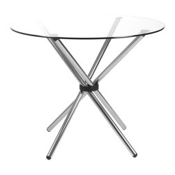 "Euro Style - Hydra Table 42"" - Clear Glass/Chrome Base - Sometimes you need an extra table and sometimes you don't. The Hydra Dining Table Base is chromed steel, fully assembled and folds completely flat. (The glass top shown here is optional). So if you need an extra table occasionally but don't have extra storage space, this is made for you."