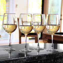 Home Decorators Collection - Monogram Wine Glasses - Set of 4 - Complete your barware collection with these monogrammed wine glasses. Perfect for bringing an elegant touch to your drinkware, each glass may be engraved with a single, block initial. Hand-blown clear glass may contain tiny bubbles and variations, making each piece beautiful and unique. Makes a great gift idea for the holidays or as a house warming present.