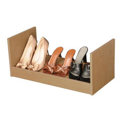 Venture Horizon - Oak Finish Modular Stackable 3-Pair Shoe Rack - Fits 3 pairs of shoes per rack. Compact. Stackable. Portable. Constructed from durable, stain resistant and laminated wood composites that includes MDF. Made in the USA. Minimal assembly required. Weight: 8 lbs.. Assembled size: 24 in. W x 12 in. D x 10 in. HAn inexpensive alternative...build an entire wall. If budget is the word but you still have a ton of shoes than our inexpensive Stackable Shoe Racks are the way to go. You can stack them as high and as wide as you want. Build an entire wall and store 100's of pairs of shoes. Not only are they a practical alternative to more elaborate and expensive shoe cabinets they are also convenient. They are portable and you can take them with you anywhere. Fits into any closet, or works as a stand alone in any room in the house. Sturdily constructed from melamine laminated particle board.
