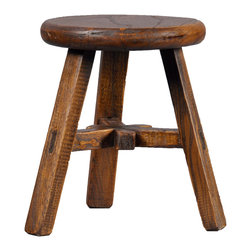 Antique Revival - Natural Round Bixby Mini Stool - This kid's stool is solid, sturdy and useful. The natural wood allows it to blend easily with any existing decor. It can help children easily reach books on a shelf, or help them be tall enough to independently brush their teeth in the bathroom. Item is newly made.