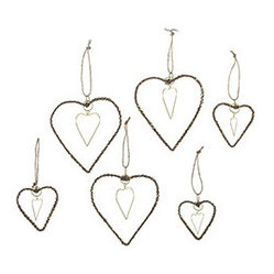 Jeweled Heart Ornaments - Set of 6 - New