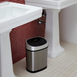 Nine Stars DZT-12-9 Touchless Stainless Steel 3.1 Gallon Trash Can - Built to last and designed to impress the Nine Stars DZT-12-9 Touchless Stainless Steel 3.1 Gallon Trash Can is the perfect addition to any bathroom in your home. Featuring infrared motion-sensor technology this stainless steel bathroom trash can opens with just a wave of your hand and closes automatically seconds later. The sensor detects motion within 10 inches - eliminating the need to touch the lid. The sleek compact shape allows it to easily fit under your bathroom sink or in a corner. It's constructed from high-quality stainless steel which offers easy clean-up and protection from rust and water damage. Sleek and stylish this trash can operates on four D batteries and can be opened and closed a minimum of 10 000 times before new batteries are required. About Nine Stars Group USA Inc.Based in City of Industry Calif. Nine Stars specializes in trash cans and accessories for the retail medical food service and education industries. Sold in over 30 countries worldwide the company's innovative and award-winning products feature high-quality materials including commercial-grade stainless steel ABS plastics and the latest in infrared motion sensor technology. Its mission is to incorporate biotechnology to make life cleaner and more convenient for consumers everywhere. Through its U.S. location and two factories in China Nine Stars Inc. employs more than 600 people including engineers and designers who develop new products and insure they meet the highest quality standards.