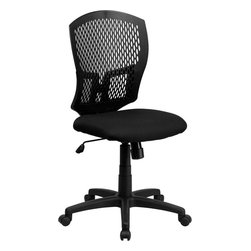 Flash Furniture - Mid-Back Designer Back Task Chair with Padded Fabric Seat - This contemporary Designer Back Office Chair features a perforated plastic back and will keep you cool and comfortable throughout the day. This chair features a back tilt lock and pneumatic seat lift.