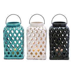 """Benzara - Captivating Shanghai Ceramic Lantern 3 Assorted - Spread brightness and get transformed to the world of beauty with these three assorted lanterns in ceramic construction. These three lanterns look enticing and have glazed turquoise, white and black finish. The lanterns have a sleek curved black handle that helps you carry it easily or hang it on the wall. With these lanterns you can make a dull looking room glow all day. Add any colored candle to the lanterns and place it or hang it on any wall of your choice in your house. The light spread out from the cutouts captivating the ambiance. Guests coming to your house will simply enjoy the light show in your house with these lanterns. These lanterns are perfect for indoor and outdoor use. So, you can thus use it according to your need. If you wish to add a touch of warmth to your dwelling, you must get these lanterns soon. This ceramic lantern measures 8 inches (Width) x 8 inches (L) x 14 inches (Height) each ; Sleek curved black handle; Turquoise, white and black finish; Dimensions: 7""""L x 7""""W x 34""""H"""